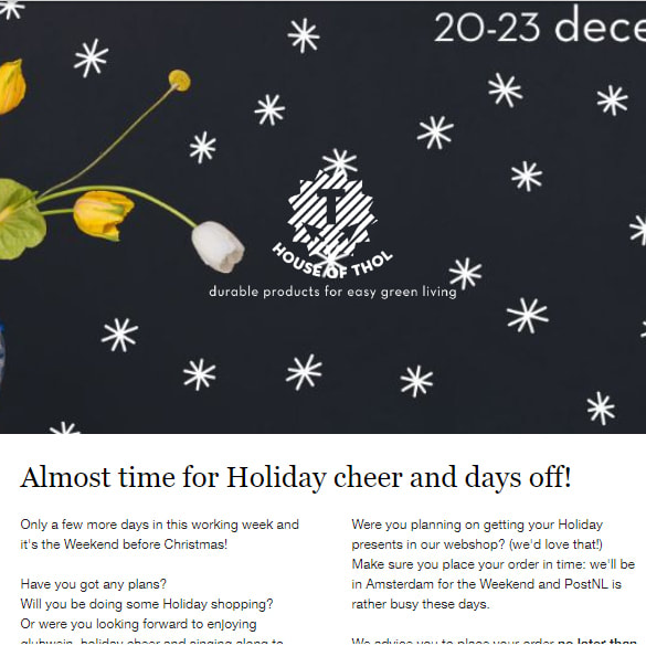 Read our English pre-Holiday newsletter