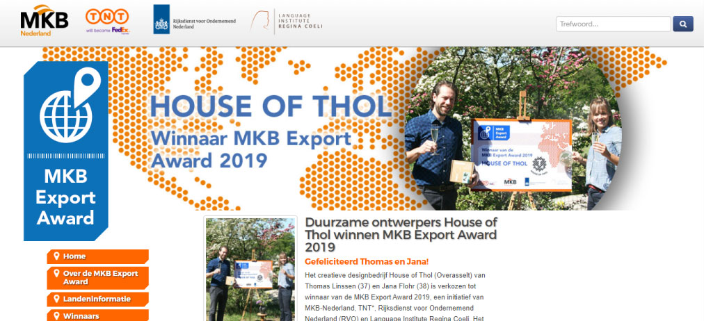 Screenshot of the MKB Export Award website