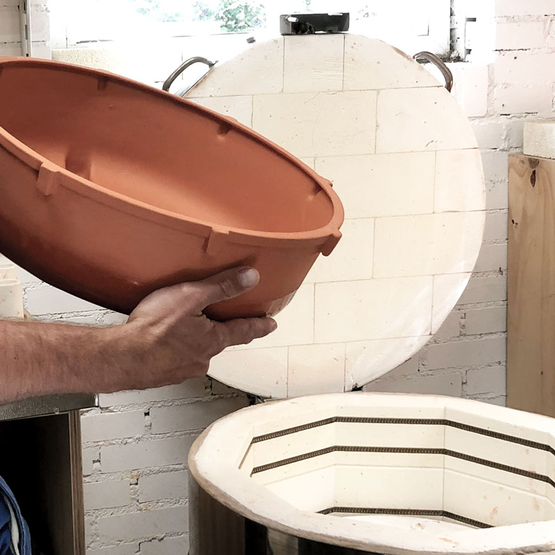 Patera Magnus outer bowl coming out of the kiln after being fired twice - House of Thol