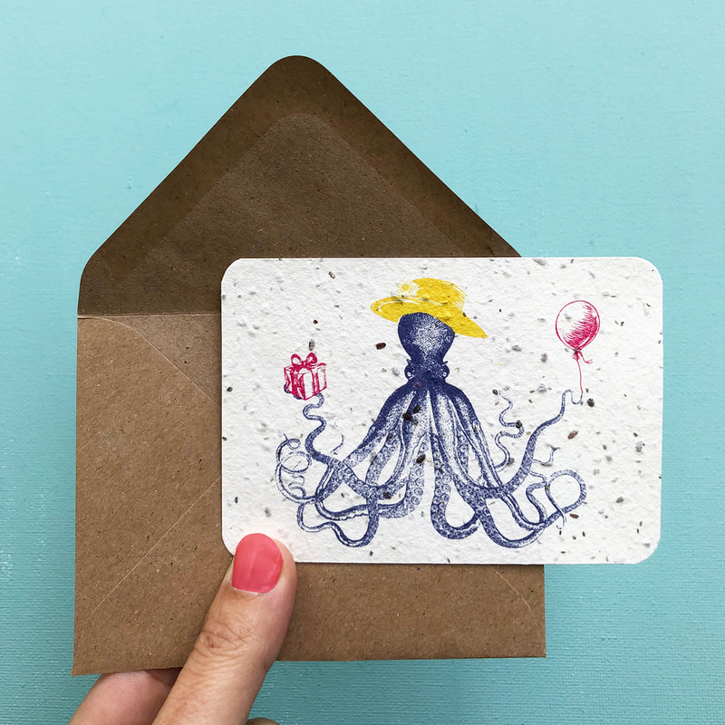 Bee Happy Flower card: Tentacle Terrence notecard (A7) | design & photography by House of Thol