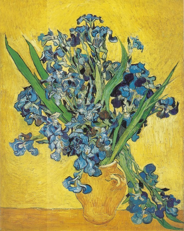 Vincent van Gogh - Vase with irises against a yellow background
